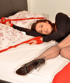 Nylon Jane teases a TGirl slut and then ties her up for some cock fun.