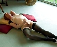 Filthy Lucimay lays on her back and pulls her cock hard